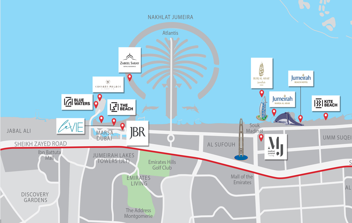 La Vie location map1 - La Vie Apartments By Dubai Properties at JBR
